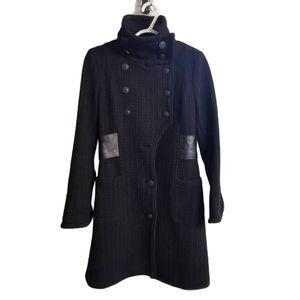 Mackage Wool Blend Leather Trim Coat